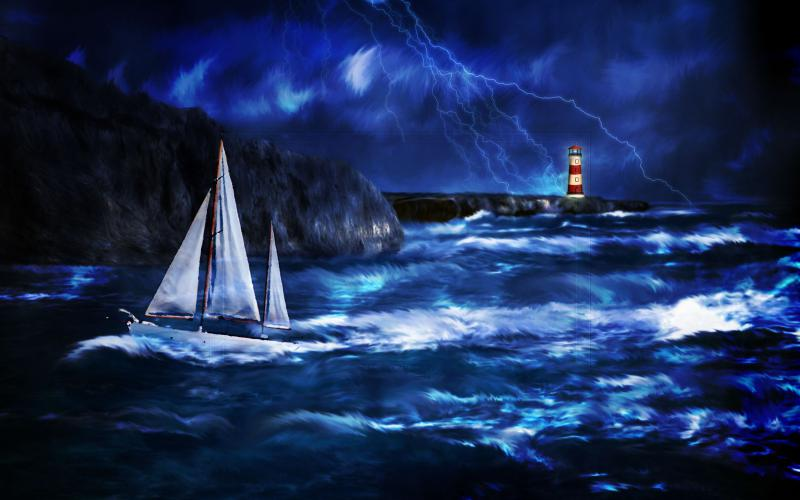 Thunderstorm Wallpaper 3d Hd Thunderstorm At Lighthouse Wallpaper Download Free