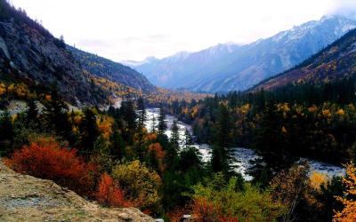 HD Mountain Valley Stream Wallpaper | Download Free - 83488