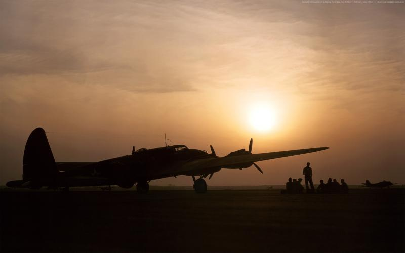 Cute Animated Hd Wallpapers Hd Sunset Silhouette Of A B 17 Flying Fortress Wallpaper
