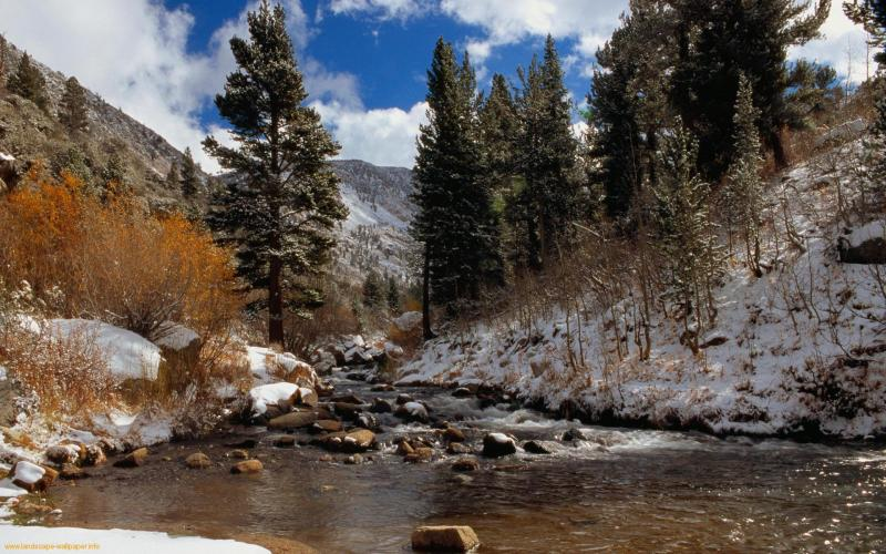 3d Sunset Wallpapers Free Hd Mountain Stream In Winter Wallpaper Download Free 52623