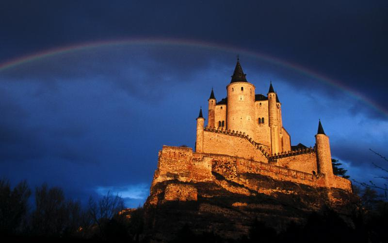 Cute Background Wallpaper For Computer Hd Rainbow Over Castle On A Cliff Wallpaper Download