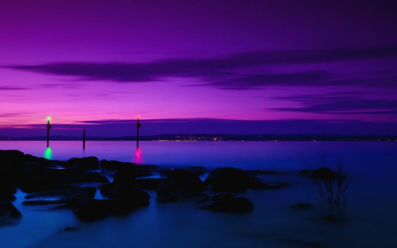 Cute Animated Merry Christmas Wallpaper Hd Lilac Purple Sunset Over The Sea Wallpaper Download