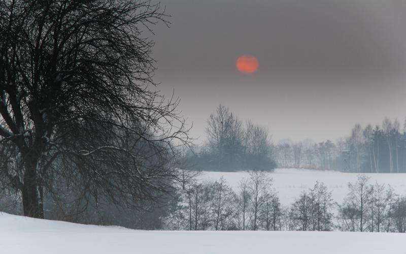 Cute Animated Merry Christmas Wallpaper Hd Red Moon Over Winter Scene Wallpaper Download Free
