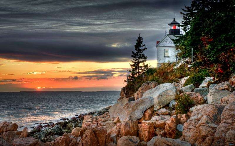 Cute Roses Wallpapers Download Hd Bass Harbor Head Lighthouse At Sunset Wallpaper
