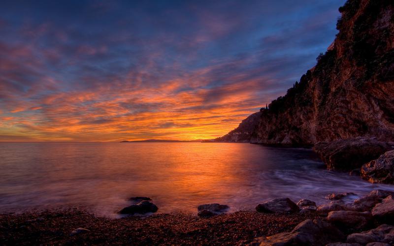 Cute Animated Hd Wallpapers Hd Beautiful Sunset On Seacoast Cliffs Wallpaper