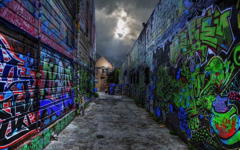 Good Evening 3d Wallpaper Hd Graffiti All Over Back Alley Hdr Wallpaper Download
