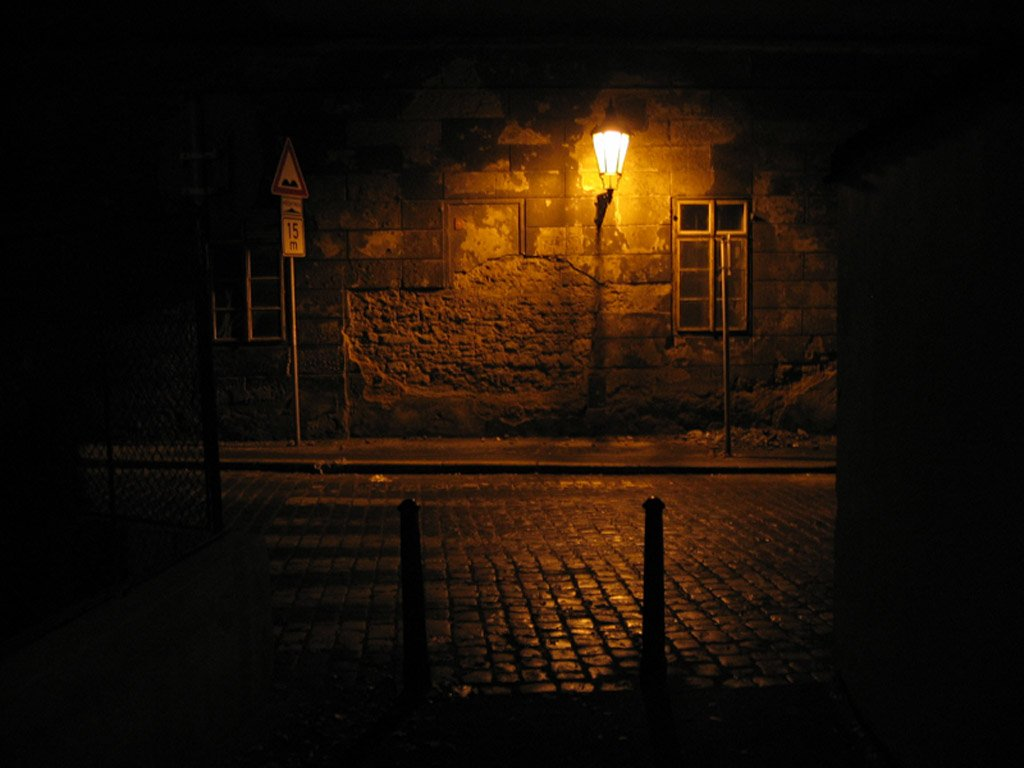 Dark City Street At Night Free Street Of Prague At Night Stock Photo Freeimages