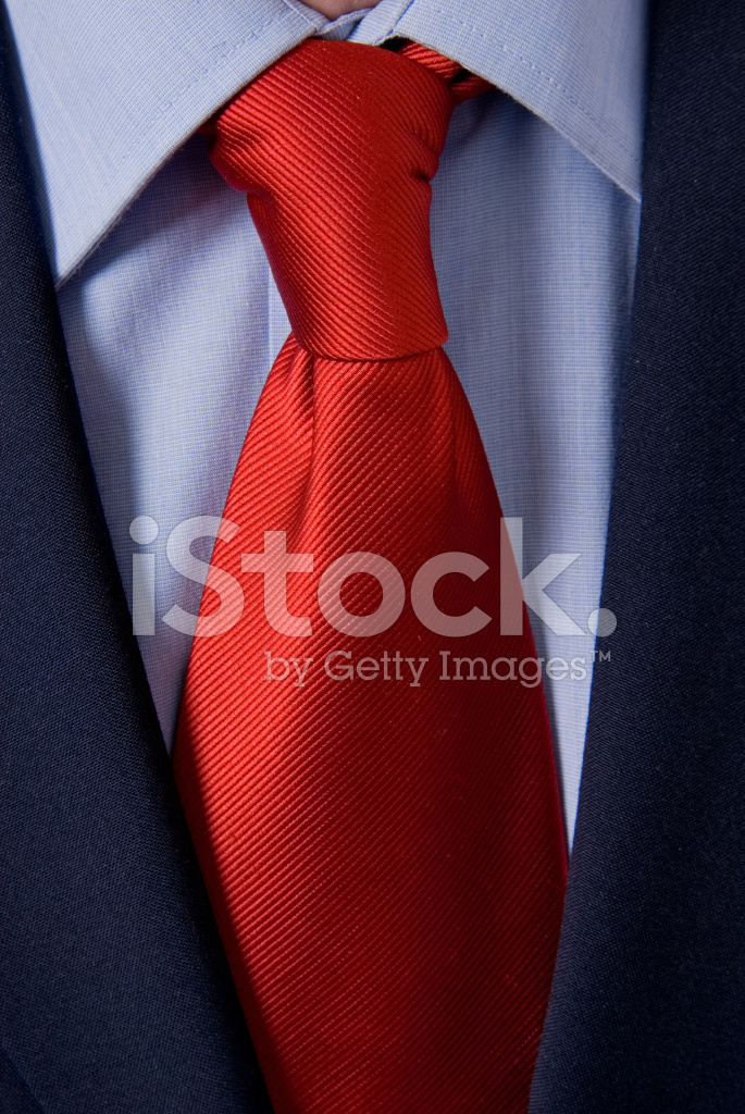 Bright Red Tie on White Shirt and Black Suit Stock Photos