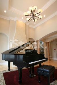 Grand Piano IN Luxury Living Room stock photos ...