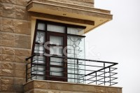 House Exterior Balcony, Corner Window With Natural Stone ...