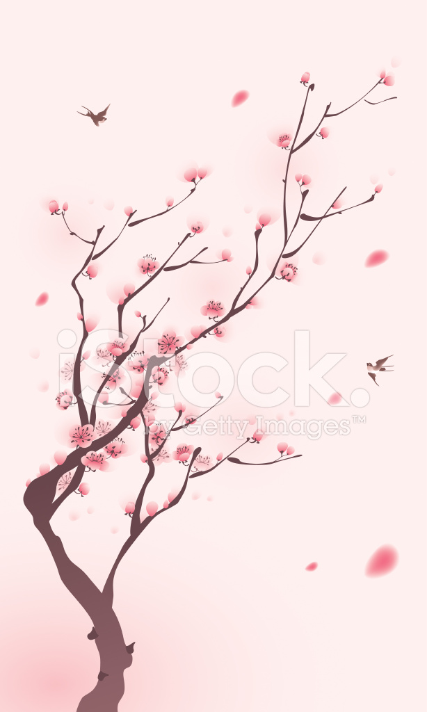 Asian Girl Protrait Leaf Wallpaper Oriental Style Painting Cherry Blossom In Spring Stock
