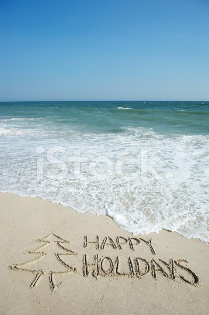 Handwritten Happy Holidays Greeting Message Blue Sky Beach Stock