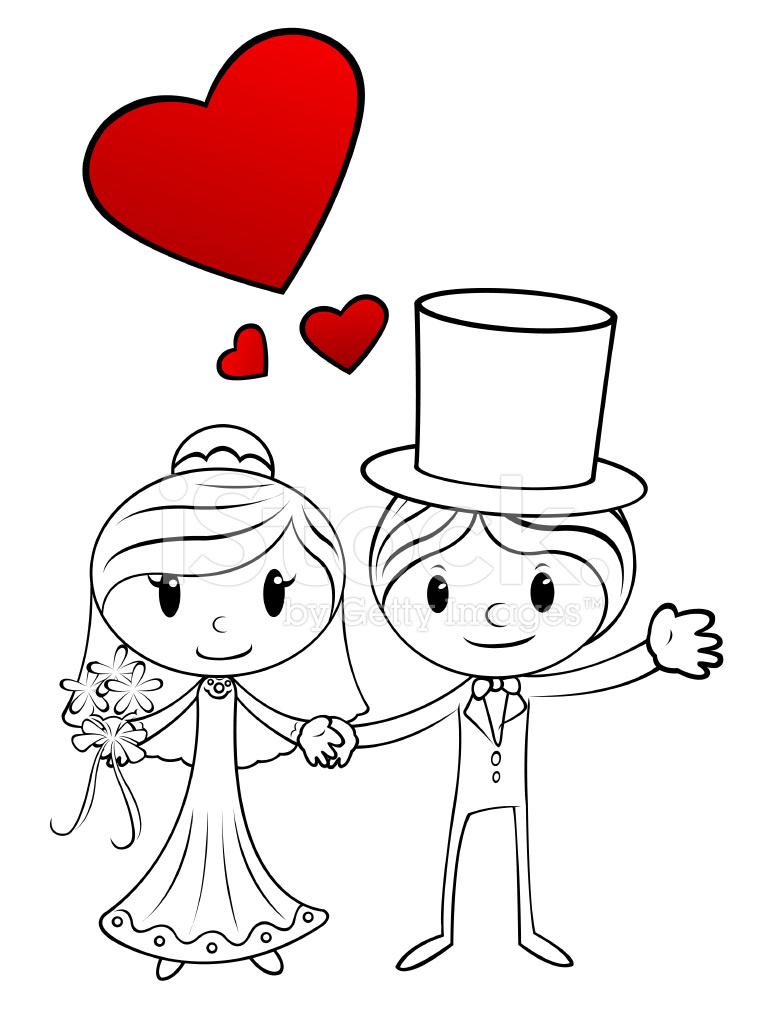 Cute Cartoon Flower Wallpaper Cartoon Wedding Couple Stock Vector Freeimages Com
