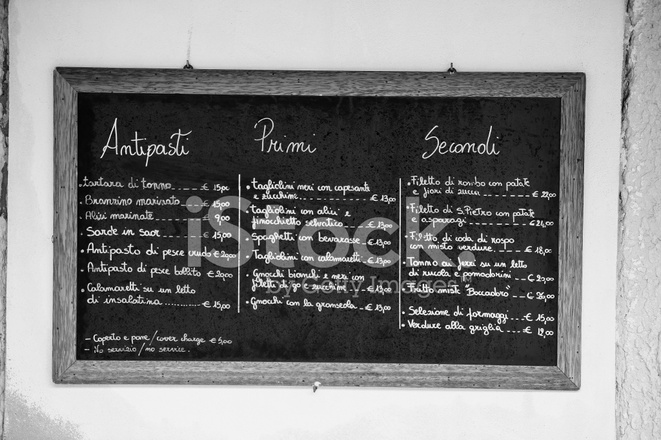 Menu of AN Italian Restaurant Written on A Blackboard Stock Photos - italian menu