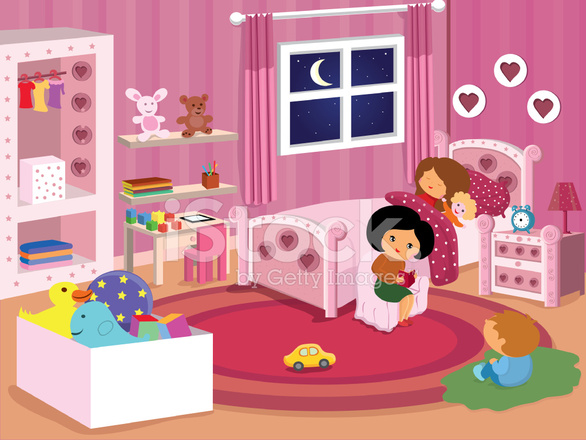 Mom Reading Bedtime Story To Kids Before Bed Stock Vector