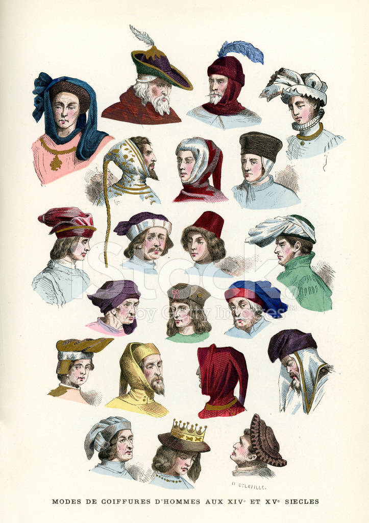 Mens Headwear 15th and 16th Century Stock Vector - FreeImages