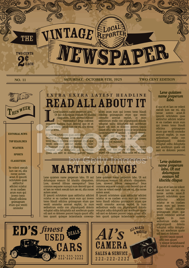 Vintage Newspaper Layout Design Template Stock Vector - FreeImages - old newspaper template