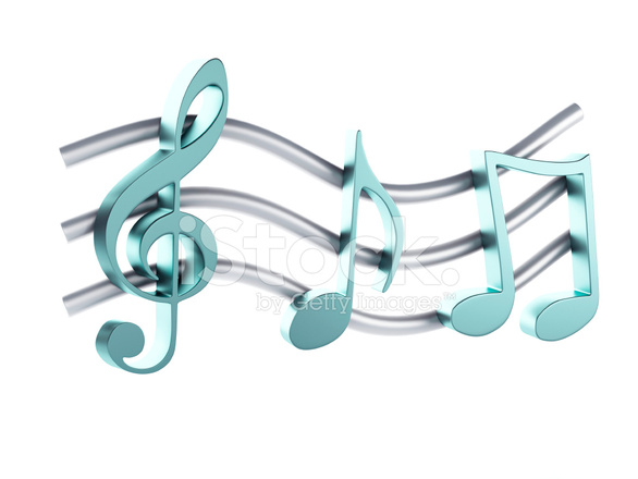 3d Modern Wallpaper Designs Music Note Isolated On White Background Stock Photos