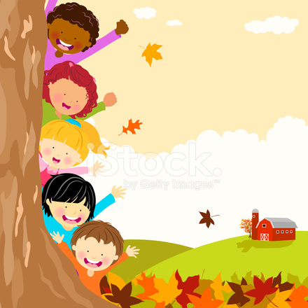 Free Fall Cartoon Wallpaper Multi Ethnic Kids Hiding Behind Tree At Autumn Stock