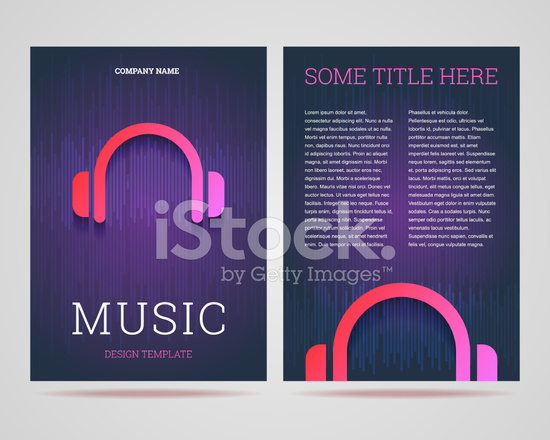 Flyer/brochure Design Template Music Theme With Headphones IC Stock