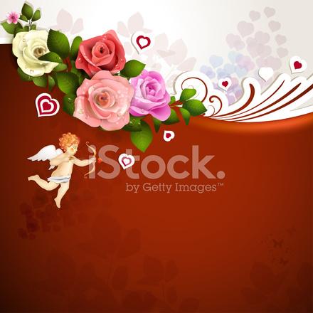 Tarjeta DE San Valentín Con Rosas, Corazones Y Cupido Stock Vector - rosas y corazones