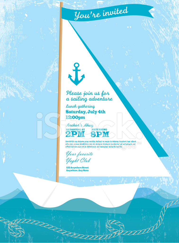 Paper Sailboat Sailing and Yahting Invitation Design Template Stock