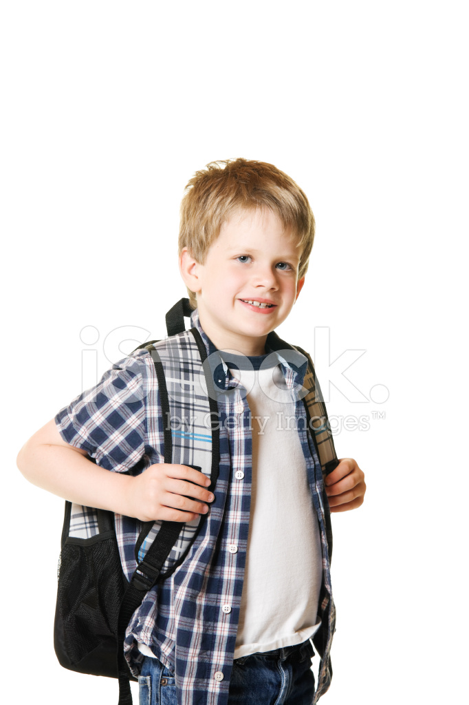 Boy Child Elementary School Student With Backpack Stock Photos - student