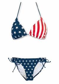 USA Flag Women's Tie Side Bikini