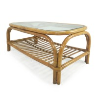 80% OFF - Glass Top Bamboo Coffee Table / Tables