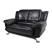 65% OFF - Custom Black Leather Loveseat / Sofas