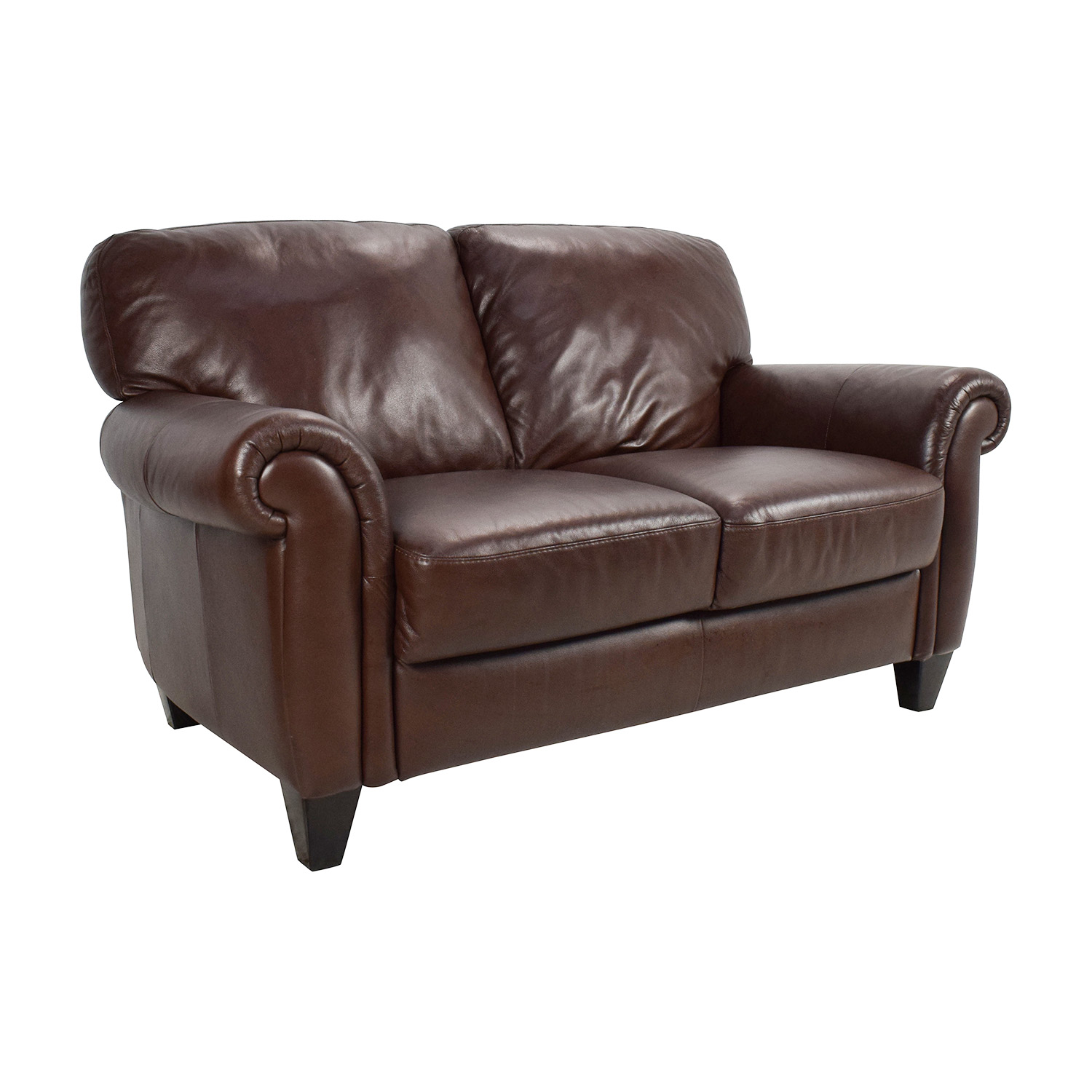 Leather Loveseat 50 Off Brown Roll Arm Leather Loveseat Sofas