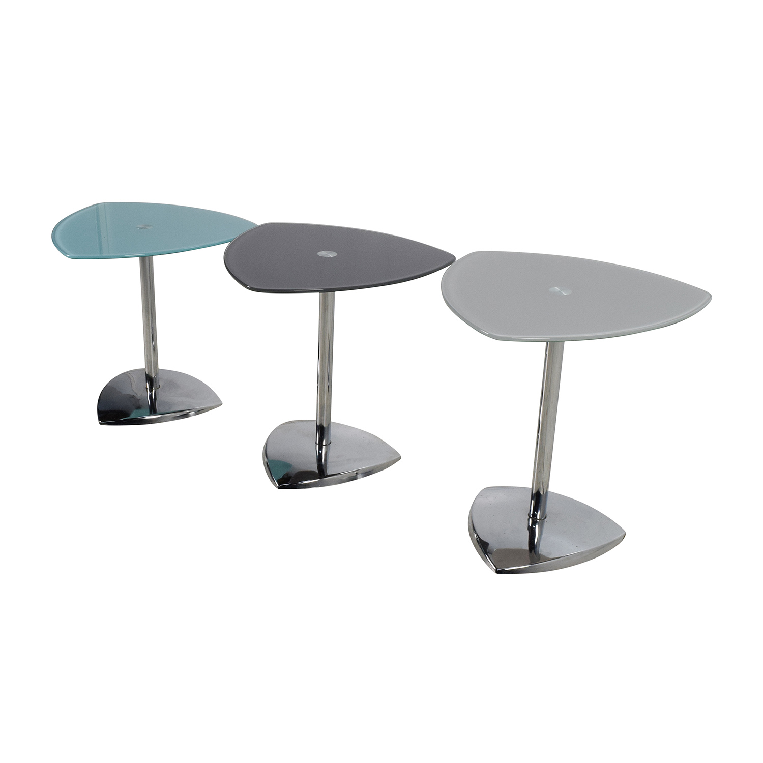 Glass End Tables Set 86 Off Set Of 3 Glass Side Tables Tables