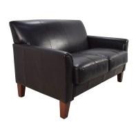 53% OFF - Black Leather Loveseat / Sofas