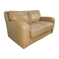 50% OFF - Beige Leather Loveseat / Sofas