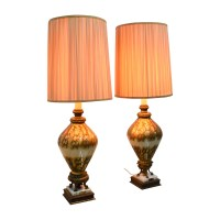 74% OFF - 1960's Gold and Cream Classic Lamp with Marble ...