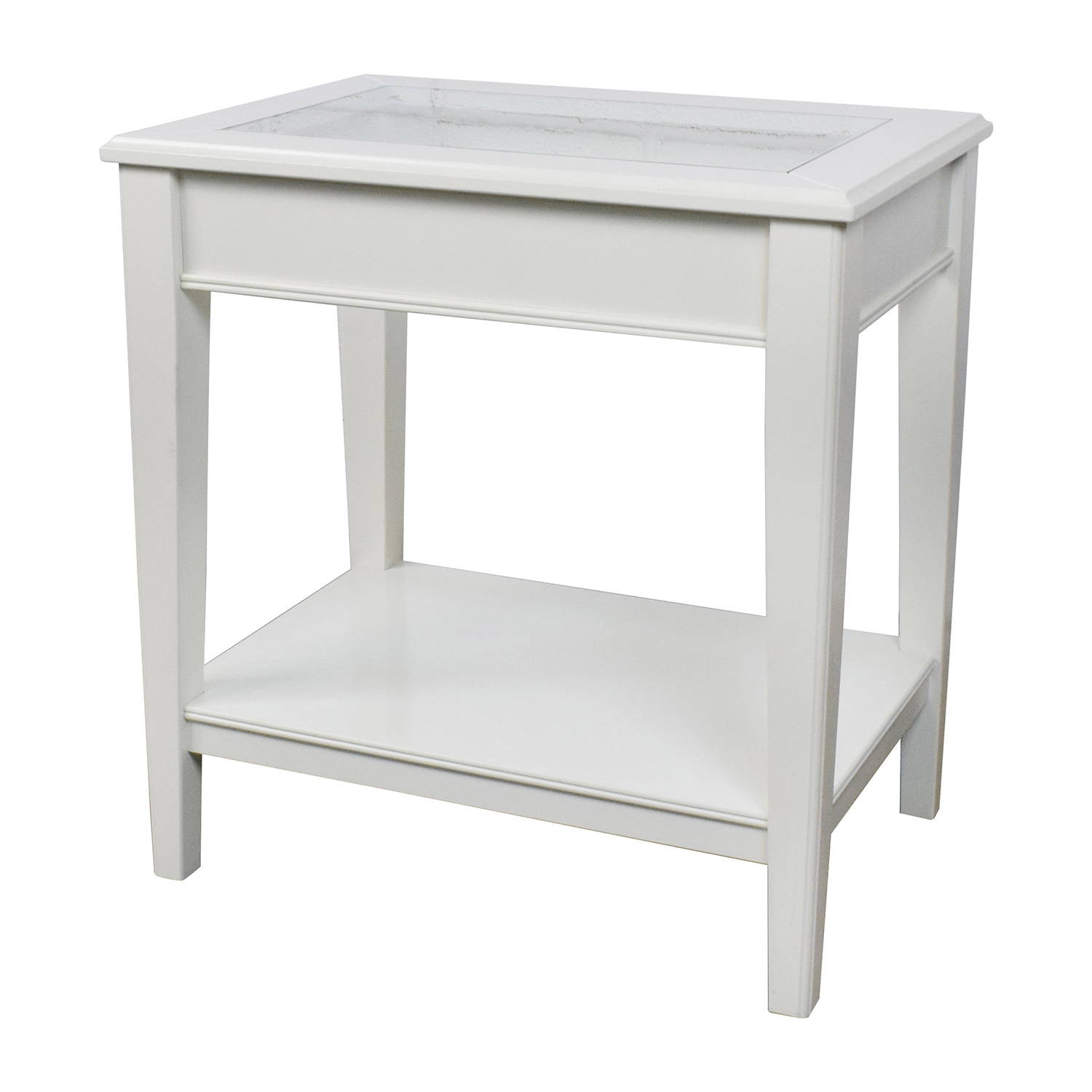 White Wooden End Tables 85 Off West Elm West Elm White Glass And Wood Side