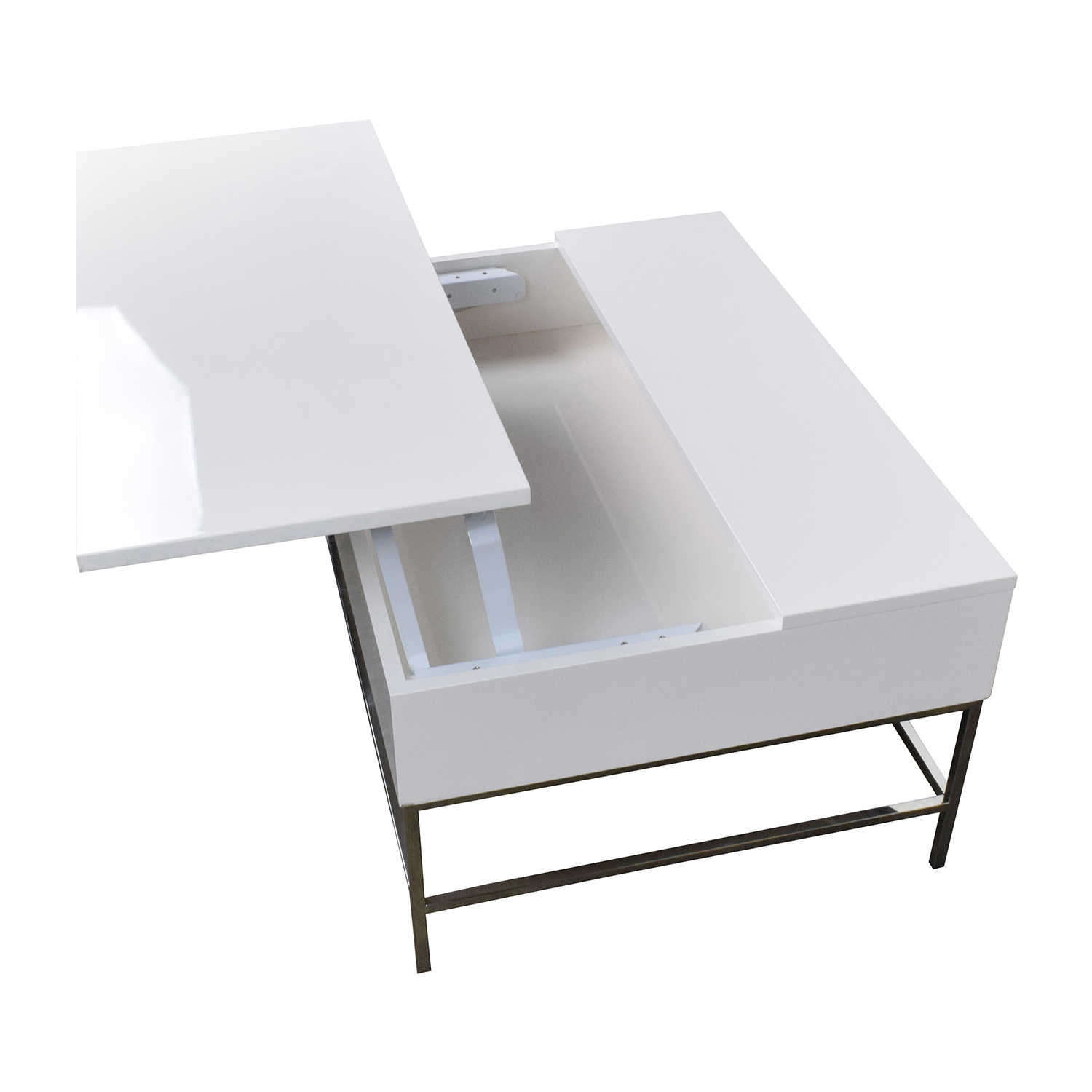 Coffee Table White Wood 34 Off West Elm Storage Table West Elm White Lacquer