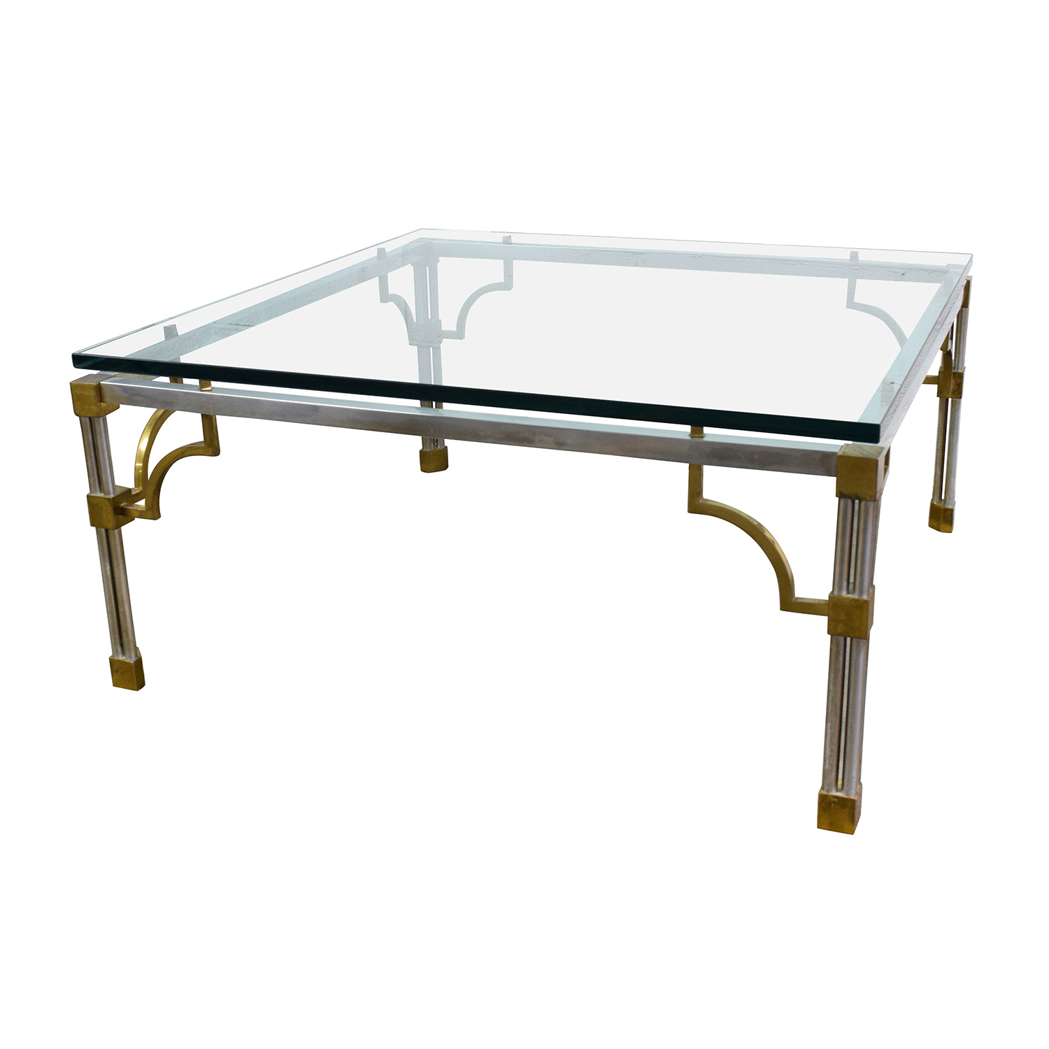 Buy Glass Coffee Table 90 Off Vintage Brass And Glass Coffee Table Tables