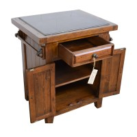 65% OFF - Wood Kitchen Island with Black Marble Top / Tables