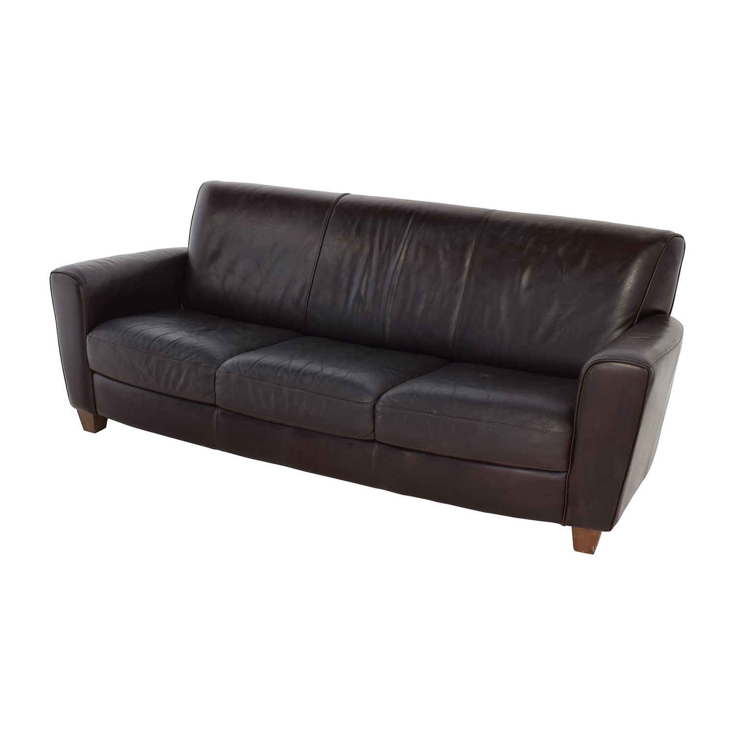 Cushions For Brown Leather Sofas 90 Off Brown Leather Three Cushion Sofa Sofas