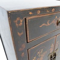 82% OFF - Antique Wood Side Tables with Floral Design / Tables