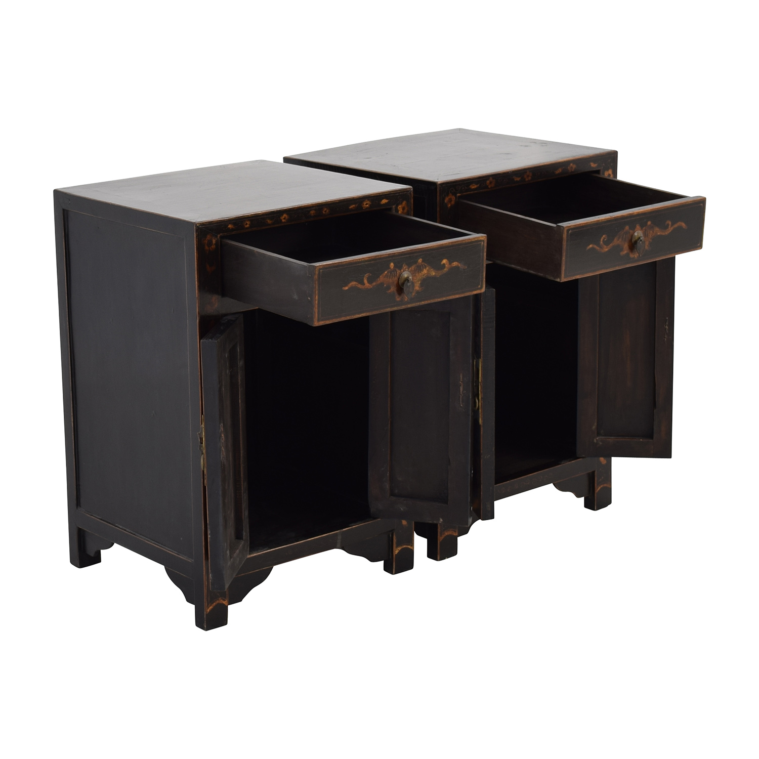 Buy Side Table 82 Off Antique Wood Side Tables With Floral Design Tables