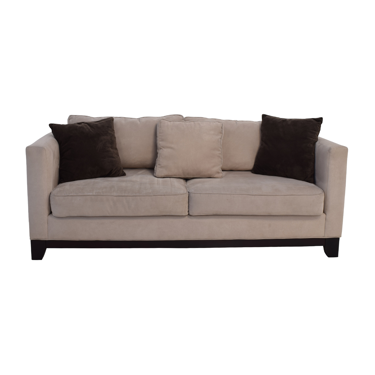 Sofas Beige 60 Off Bauhaus Bauhaus Beige Microsuede Couch With Toss