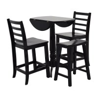 59% OFF - Counter Black Round Table with Chairs and Stool ...