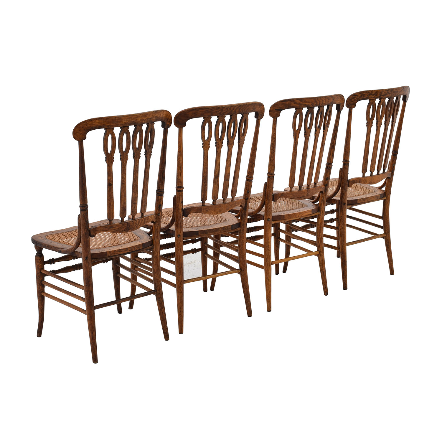 52 Off Antique Cane Weaved Wood Dining Chairs Chairs