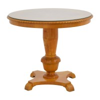 86% OFF - Antique Round Wood Dining Table with Glass Top ...
