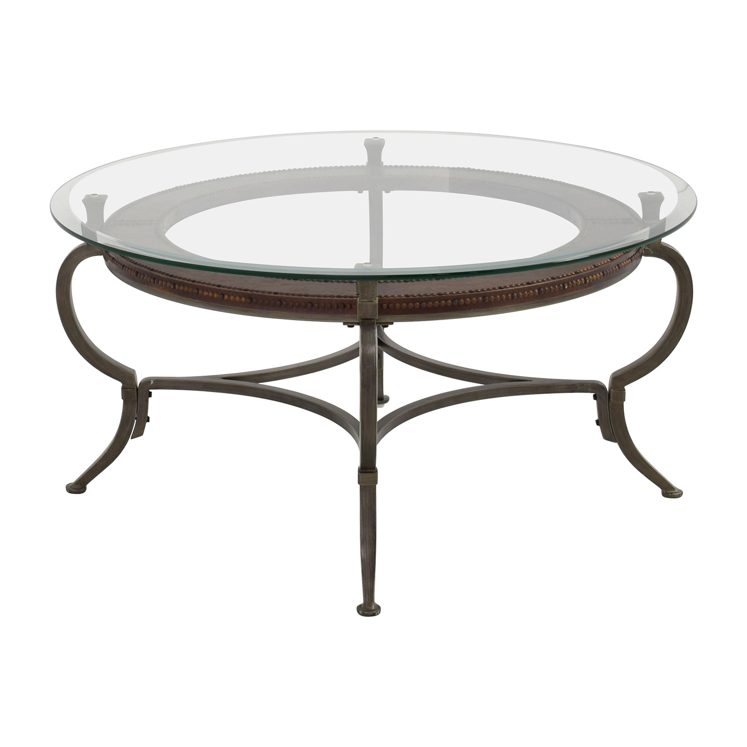 Glass And Steel Coffee Tables 86 Off Macy 39s Macy 39s Round Metal And Glass Cocktail