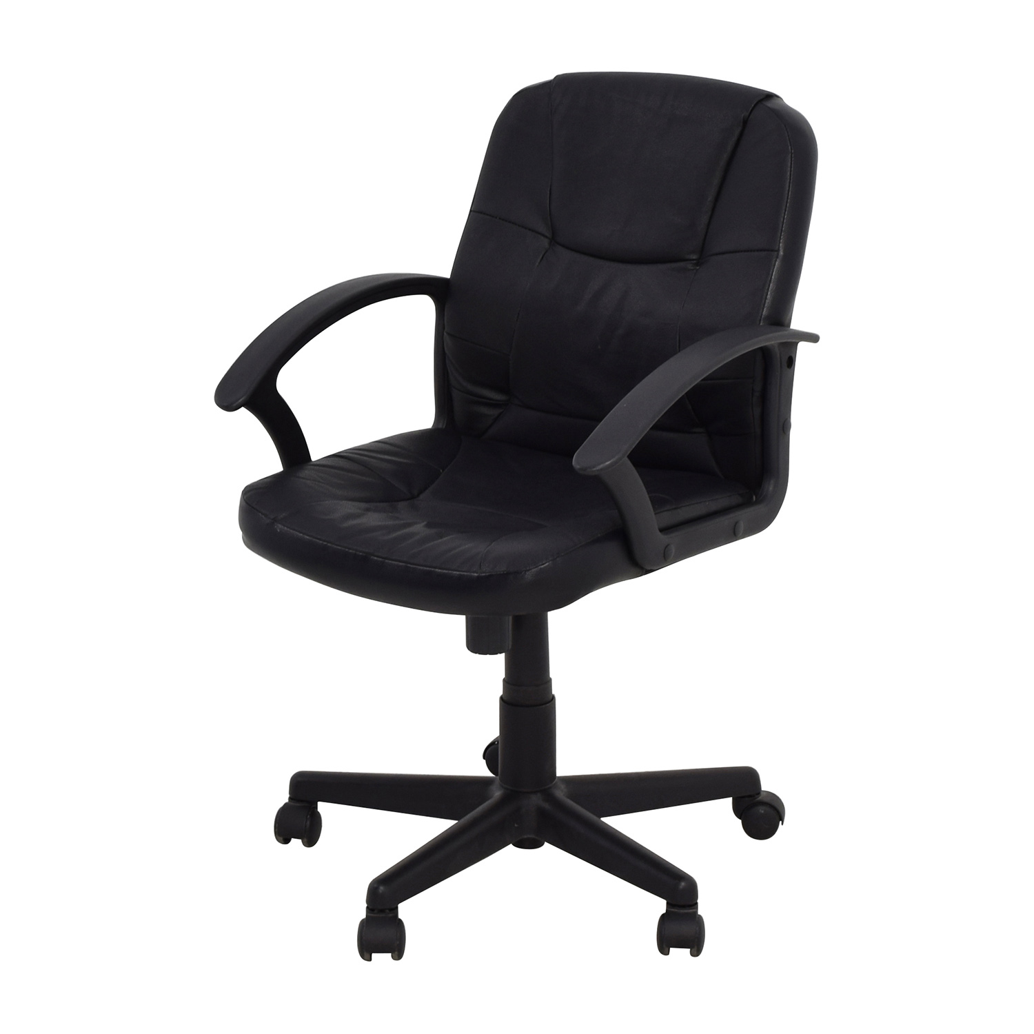 Furniture Chairs Black 75 Off Black Leather Adjustable Desk Chair Chairs
