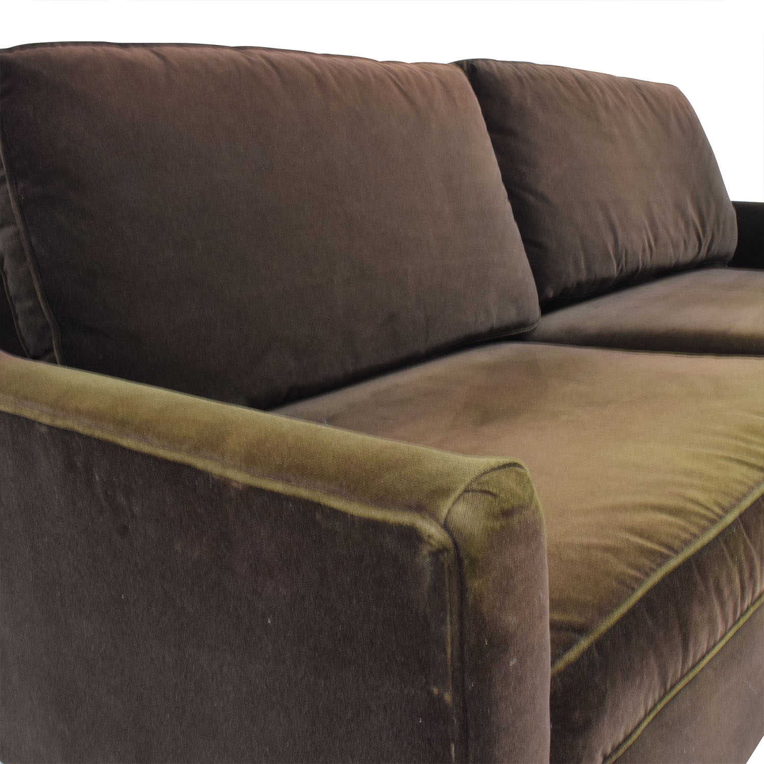 Buying A Second Hand Sofa 79 Off Dark Brown Velvet Two Cushion Sofa Sofas