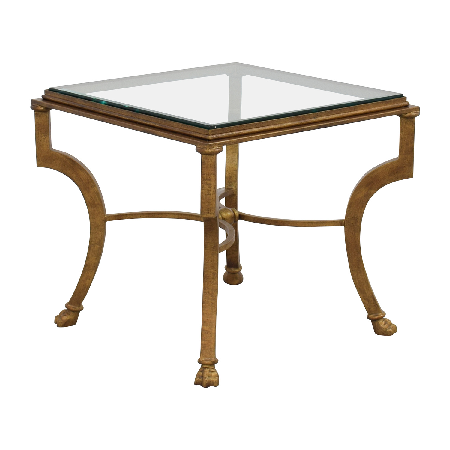 Square Glass End Tables 69 Off Square Antique Gold Side Table With Glass Top
